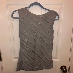 Grey sequined Ann Taylor Loft tank blouse